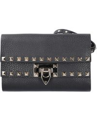 Valentino Garavani Women Belt Bag Rockstud Deer Skin Rivets Black