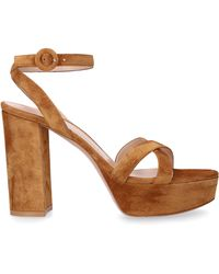 Gianvito Rossi Sandals Poppy 70 Suede Camel - Natural