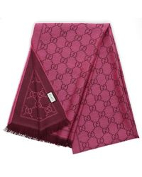 1a1c7abeb Gucci - Women Scarf 3g200 Wool Logo Pink Brown - Lyst