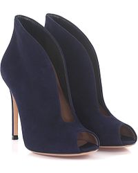 Gianvito Rossi - Ankle Boots Vamp Peeptoe Suede Blue - Lyst