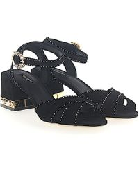 Dolce & Gabbana - Sandals Keira Suede Black Pearls Crystals Gold - Lyst