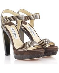 Jimmy Choo - Sandals Dora Plateau Leather Gold Metallic Suede Brown Python Print - Lyst