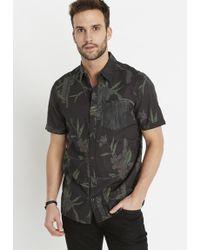 Buffalo David Bitton Floral Short-sleeve Shirt - Black