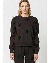 Buffalo David Bitton Opal Flocked Star Sweatshirt - Kt0280f - Black