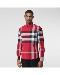 Burberry Check Stretch Cotton Poplin Shirt - Red