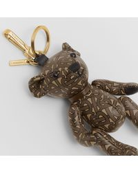 Burberry Thomas Bear Charm In Monogram Print Leather - Brown