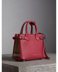 Burberry - The Small Banner In Leather And House Check Russet Red - Lyst