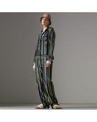 Burberry - Striped Cotton Silk Jumpsuit - Lyst