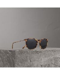 Burberry - Check Detail Round Frame Sunglasses In Dark Brown | - Lyst