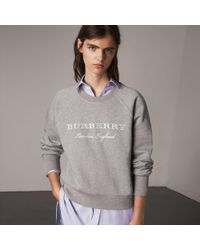 Burberry - Embroidered Cotton Blend Jersey Sweatshirt Pale Grey Melange - Lyst