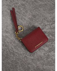 c7c57abfe2cc Burberry - Leather And Haymarket Check Id Card Case Charm - Lyst