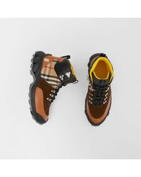 Burberry Leather, Vintage Check Cotton And Suede Tor Boots - Multicolour