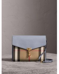 Burberry - Small Leather And House Check Crossbody Bag Slate Blue - Lyst