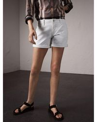 Burberry Low-rise Power-stretch Denim Shorts - White
