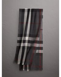 Burberry - Lightweight Check Wool Cashmere Scarf Charcoal - Lyst