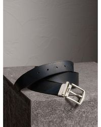Burberry - London Check And Leather Reversible Belt Navy/black - Lyst