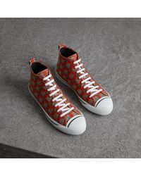 Burberry - Tiled Archive Print Cotton High-top Sneakers - Lyst