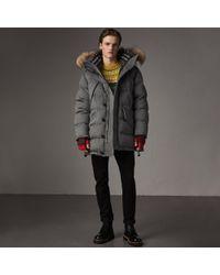 Burberry - Detachable Fur Trim Cashmere Down-filled Parka - Lyst