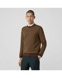 Burberry Monogram Merino Wool Jacquard Jumper - Brown