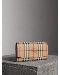 Burberry - Haymarket Check And Leather Slim Continental Wallet In Light Elderberry | - Lyst