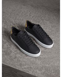 Burberry - Perforated Check Leather Sneakers - Lyst
