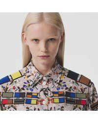 Burberry Badge Appliqué Floral Print Silk Oversized Shirt - Natural