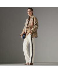 Burberry Stripe Detail Silk Wool Tailored Trackpants - Multicolor
