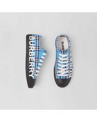 Burberry Sneakers en coton check avec logo - Bleu