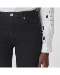 Burberry Straight Fit Logo Graphic Raw Denim Jeans - Black