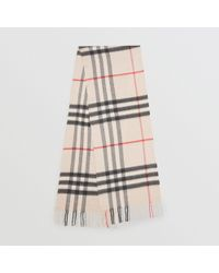 e5abeea75d881 Burberry The Classic Cashmere Scarf In Check Dusty Blue in Blue for ...