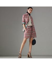Burberry - Painted Check Cotton Drawcord Shorts - Lyst
