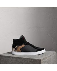 Burberry - Leather And House Check High-top Trainers Black - Lyst