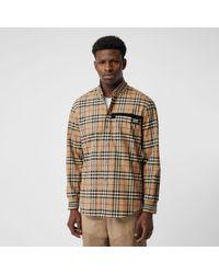 Burberry Baumwollhemd in Vintage Check mit Rippstrickdetails - Natur