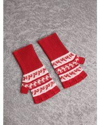 Burberry - Fair Isle Wool-cashmere Blend Gloves - Lyst