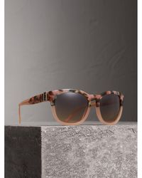 Burberry - Buckle Detail Square Frame Sunglasses - Lyst