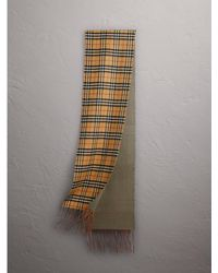 Burberry - Reversible Vintage Check Cashmere Scarf In Chalk Green   - Lyst