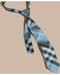 3272d0be197a ... shopping burberry modern cut check jacquard silk tie hydrangea blue  lyst edf21 12303