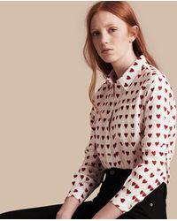 Burberry - Heart Print Linen Shirt Parade Red - Lyst