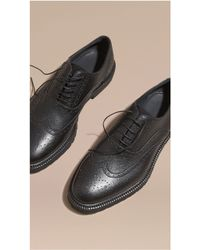 Burberry Grainy Leather Wingtip Brogue With Rubber Sole Black