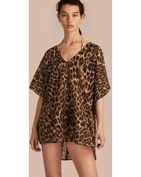 Burberry Animal Print Cotton Silk Swimwear Cover-up - Multicolour