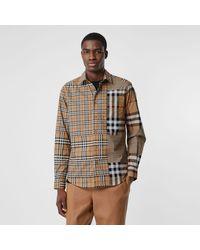 Burberry Klassisches Baumwollhemd mit Karopatchworkmuster - Natur