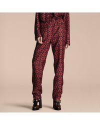 Burberry Geometric Tile Print Silk Pyjama-style Shirt - Blue
