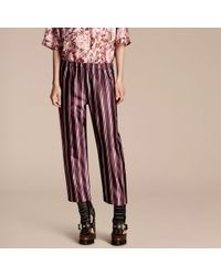 Burberry - Panama Stripe Cropped Cotton Silk Satin Pyjama-style Trousers - Lyst