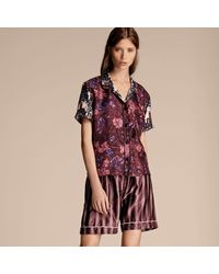 Burberry - Short-sleeved Floral Print Silk Pyjama-style Shirt - Lyst