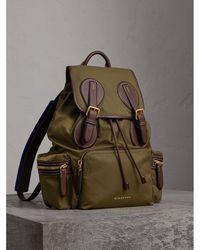 Burberry - The Large Rucksack In Technical Nylon And Topstitched Leather - Lyst