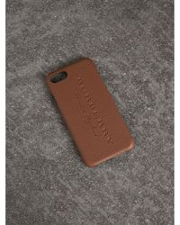 Burberry - London Leather Iphone 7 Case In Chestnut Brown | Burberry - Lyst