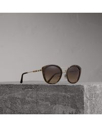 Burberry - Check Detail Round Frame Sunglasses In Dark Brown   - Lyst