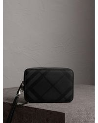 Burberry - Leather-trimmed London Check Pouch - Lyst