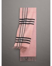 Burberry - Reversible Metallic Check Cashmere Scarf Rose - Lyst