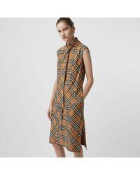 Burberry - Robe à col lavallière en coton à motif Vintage check - Lyst